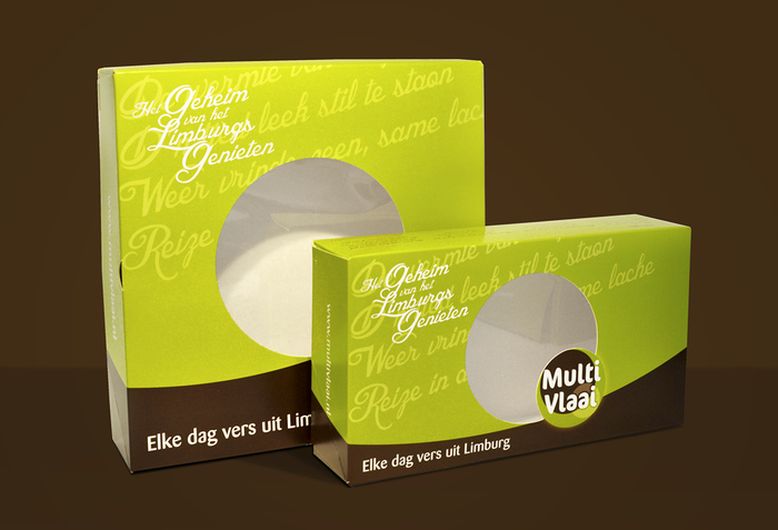 "Packaging combining Blessed Day with Barmeno for the slogan (""Each day fresh from Limburg"") and the logo in FF Cocon"