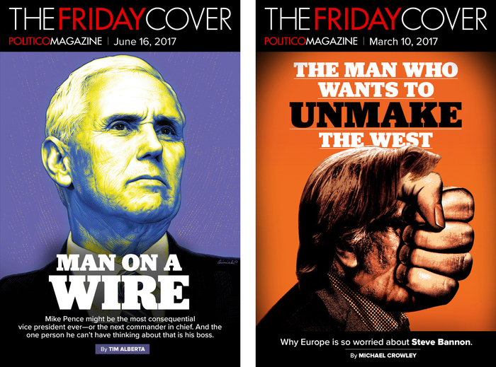 Jubilat again is paired with Proxima Nova as secondary typeface. The logos of Politico Magazine and The Friday Cover are in tightly spaced caps from Futura, with words separated by color rather than spaces.