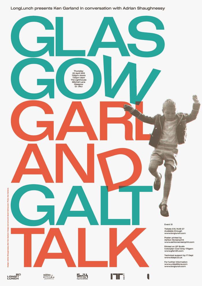 Glasgow Garland Galt Talk poster