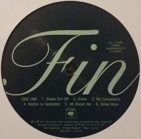 The label on the vinyl edition features a lighter weight of Snell  Roundhand.