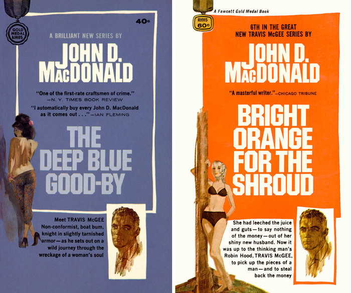 The Deep Blue Good-by, No. 1 in the Travis McGee series (1964) and Bright Orange for the Shroud (1968). Cover art by Ron Lesser.