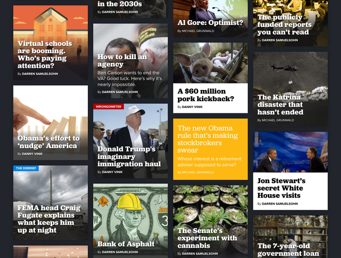The Agenda's article teasers are arranged on a four-column grid. When placed on images, white Jubilat Bold get a subtle shadow treatment. The regular weight is used for articles without images.