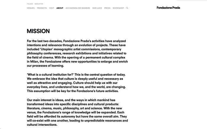 Fondazione Prada identity and website 4
