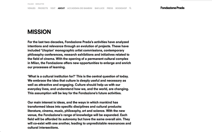 Fondazione Prada identity and website 4
