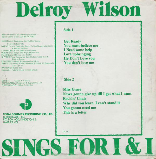 Delroy Wilson – Sings for I&I album art 2