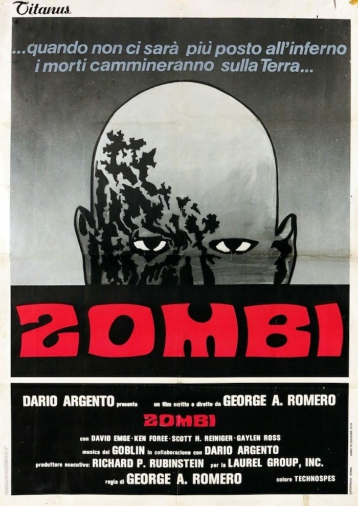 Another poster by Titanus, Italy, with the zombie head from the US poster rendered in black and white.