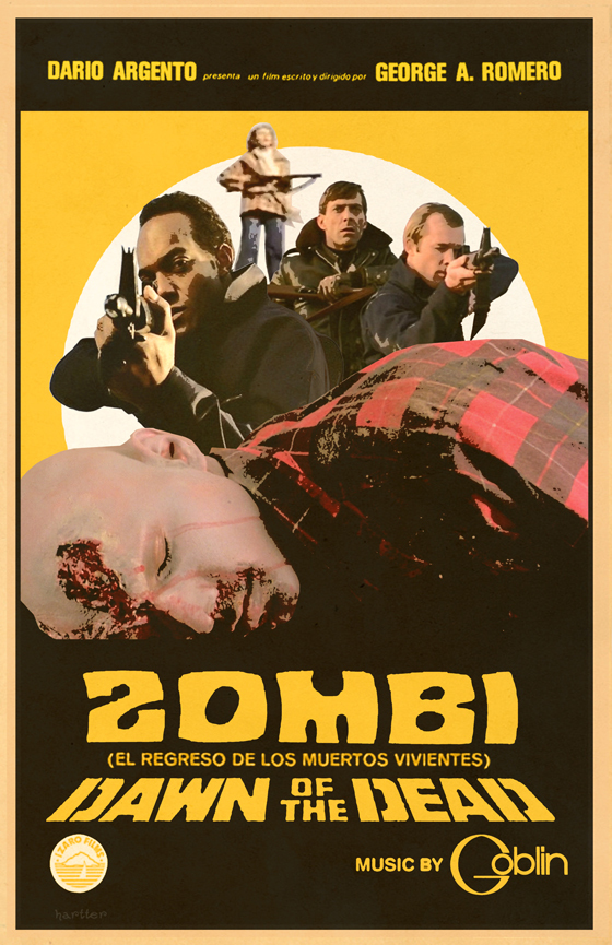 "Alternative poster by Ízaro Films, combining the ""Zombi"" logo in Davison Psyche with the original US version."