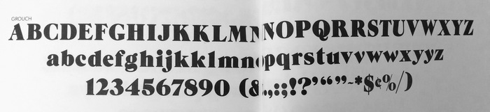 The sample of Grouch with the alternate letters, as shown in Lubalin Smith Carnase Typefaces catalog, 1970. The alternate letters were not published when the typeface was digitized.