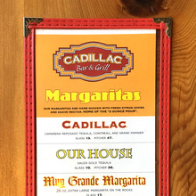 Cadillac Bar & Grill margaritas menu