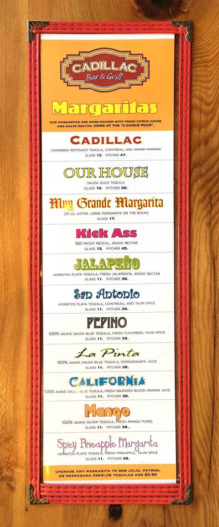 Cadillac Bar & Grill margaritas menu