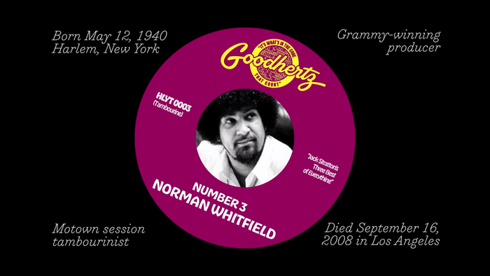 "Trianon Italic is used for the facts about Norman Whitfield, Hobeaux and Hobeaux Rococeaux Sherman for the faux record label. Additional lettering by OH no Type Co., riffing on the original ""Gordy"" logotype."