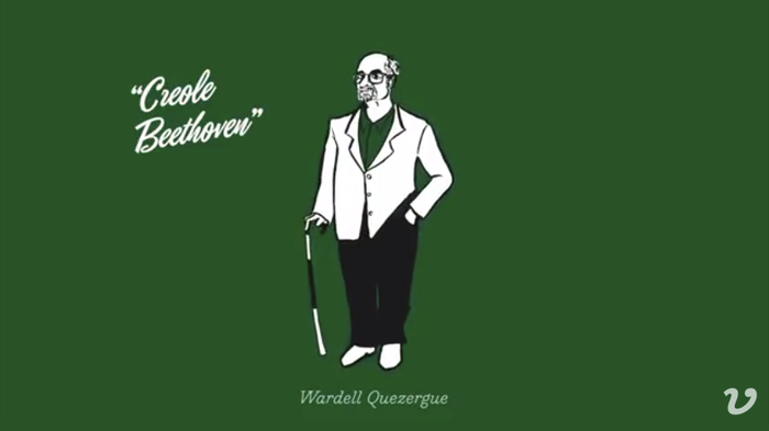 "The illustration for Wardell Quezergue AKA ""Creole Beethoven"" is complemented by Eubie Script."