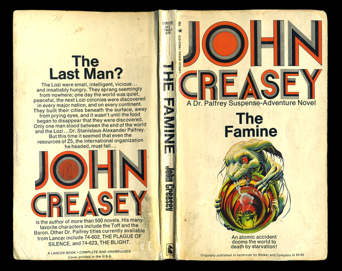 Creasey, J. (1967). The Famine: A Dr. Palfrey Suspense-Adventure Novel. New York: Lancer Books, Inc.
