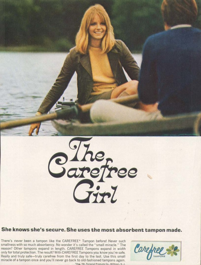 Rowing boat ad in Hairdo 11/1968, starring the young Cheryl Tiegs.