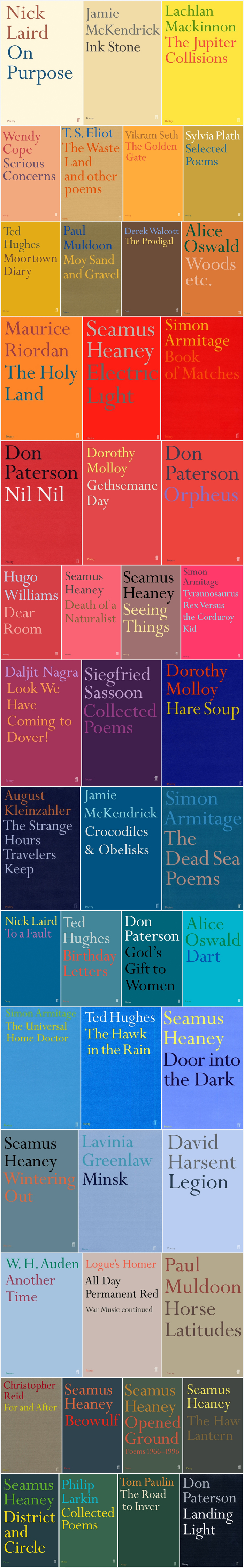 Faber Books showcases a selection of covers from the Poetry series on their Flickr photostream.
