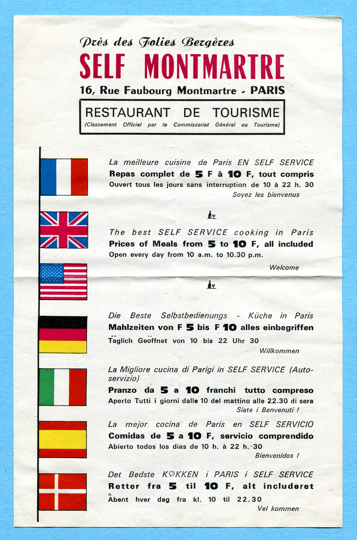 Self Montmartre restaurant leaflet