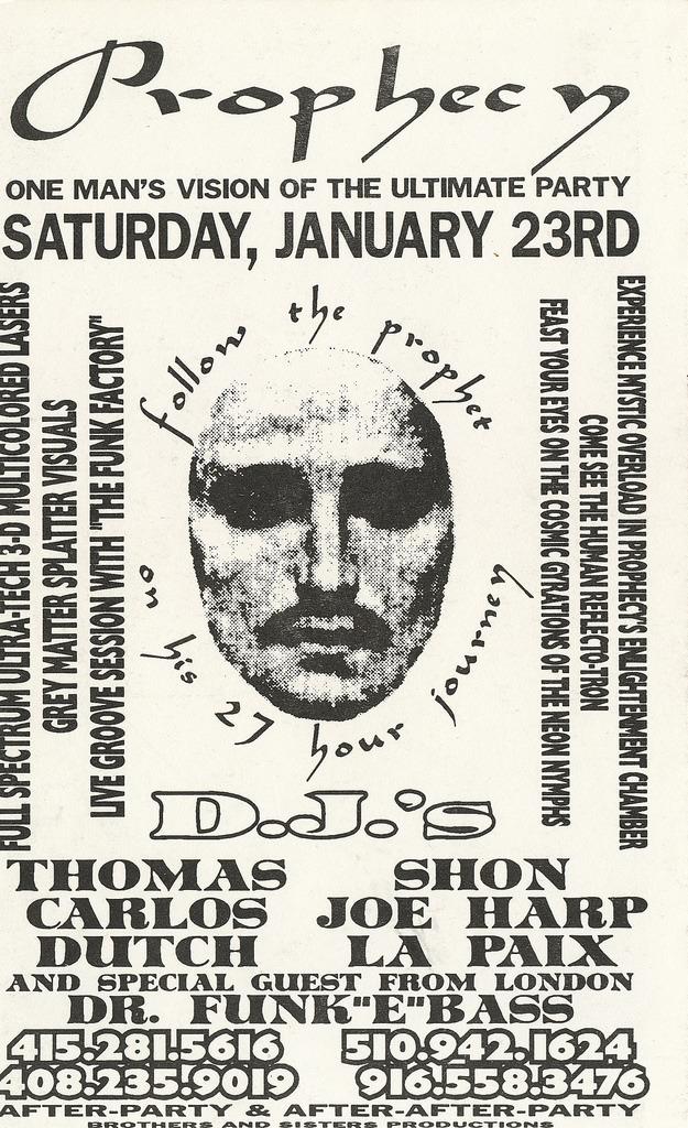 """Prophecy"" San Francisco rave flyer"