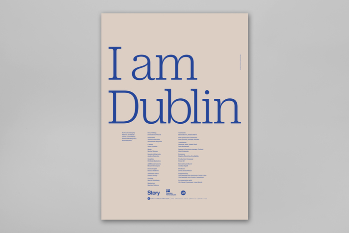 Poster 70x100 cm, printed with Pantone 286 on uncoated coloured paper.