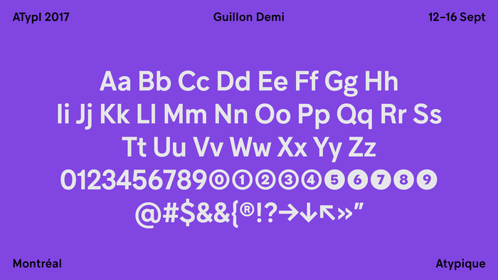 Julien Hébert says he chose Guillon as the principal typeface for this year's conference because it was developed in Montréal by the very talented Feed Studio and Coppers and Brasses. As we celebrate the 50th anniversary of Montréal's Expo 67, Guillon pays homage to the mid-century modernist grotesque, and is perfectly suited to the very heteroclite applications to come.