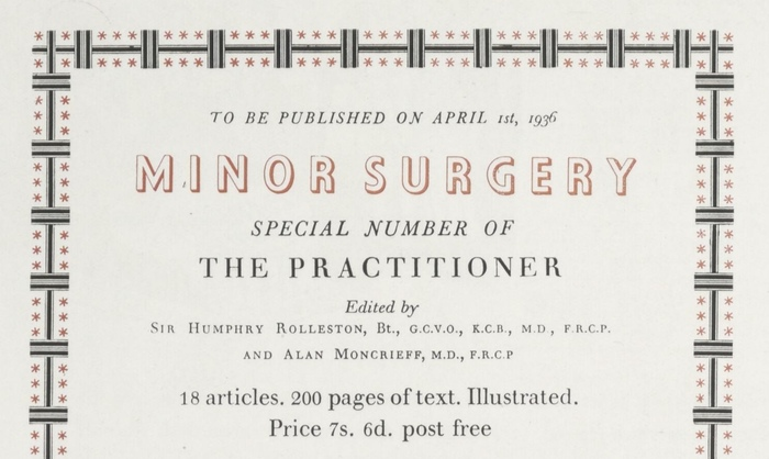 The Practioner 1936 advert, Curwen Press 2