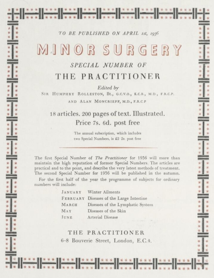 The Practioner 1936 advert, Curwen Press 1