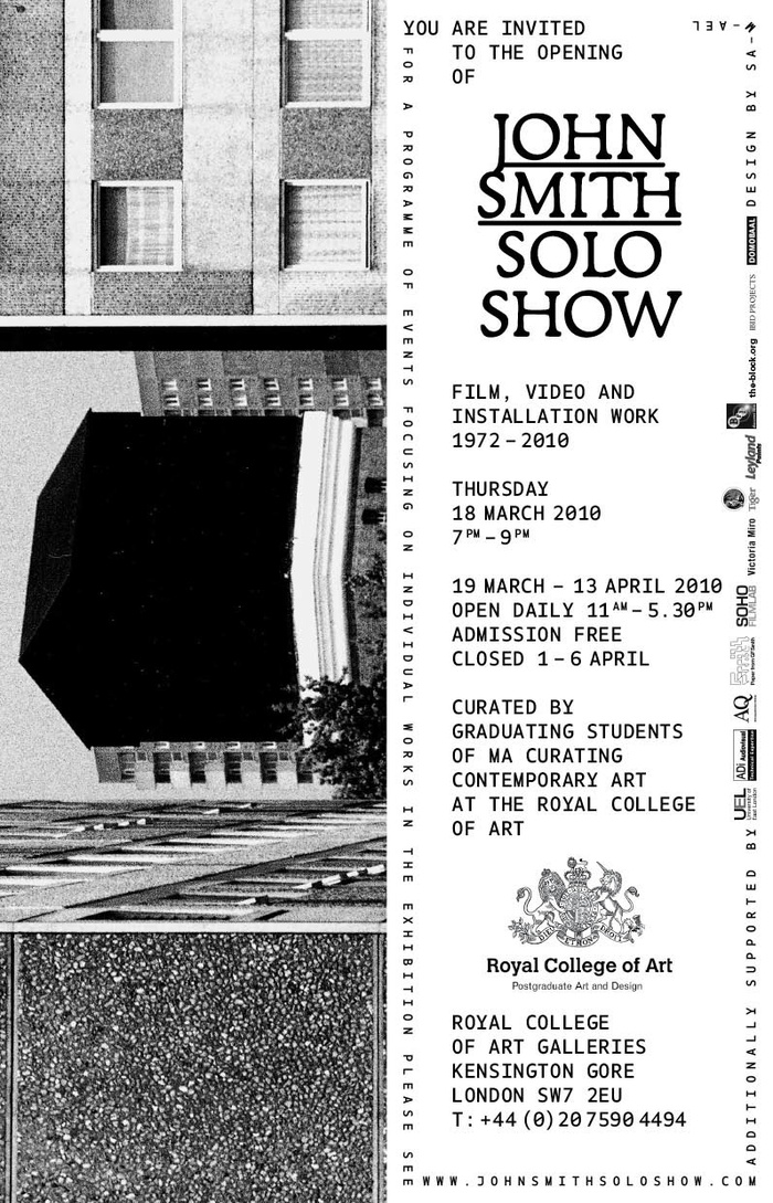 Invitation for the exhibition at RCA.
