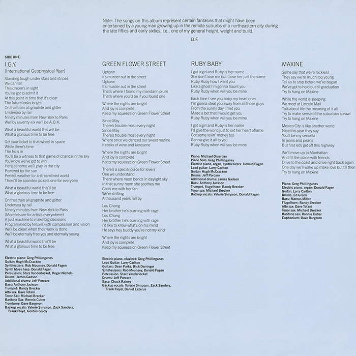Liner notes for Side One.
