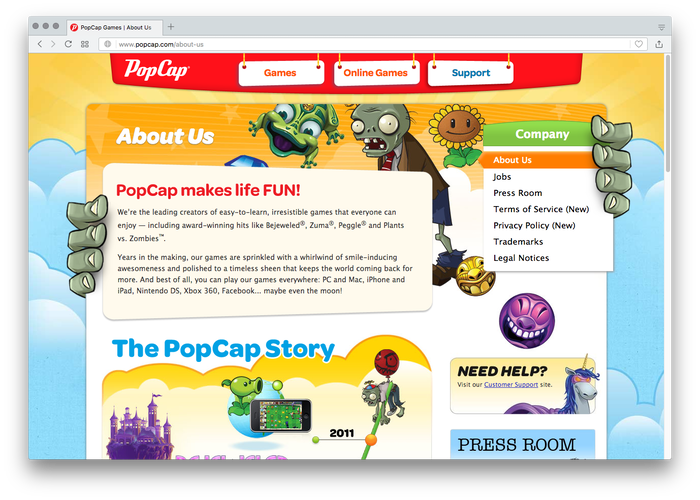 Top menu and headings on the PopCap website are set in a number of styles from the Omnes family, including Medium, Bold, and Bold Italic.