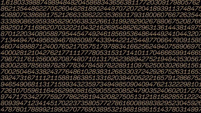 This slide shows the golden ratio, or divine proportion, calculated to a few hundred decimal places. The typographic pattern and texture created shows the tabular numerals from Halyard Display Book Italic to striking effect.