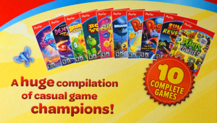 The vigorous Omnes Bold on the back cover of a games collection, loudly addressing potential customers. The type is arranged in staggered lines that are further animated by changing sizes. It received a 3D/shadow treatment that echoes similar effects in the game logos. The eye-catcher on the right shows the number '10' set in Omnes Black, featuring its whimsical '1'.