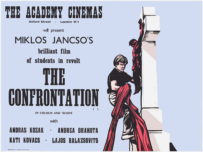 "The Confrontation (HU 1969) — More Playbill, SB Grotesque, Gill Sans, condensed Clarendon and other unidentified faces. ""In colour and 'scope"" is in Britannic Italic. There are several digitizations, but none of them includes the italics. For the actors' names, see The Godfather's Haunted Lineage."