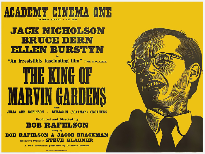The King of Marvin Gardens (US 1972) — Big actors' names are set in a style generically called Antique, stemming from Figgins' Antique. Giza and Ziggurat are related digital versions. Smaller names are in caps from Windsor. The small type at the bottom is Latin Bold or similar.