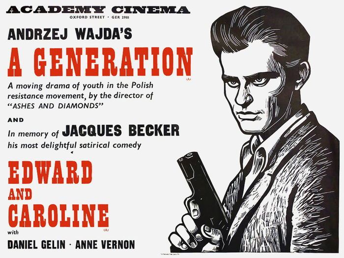 "A Generation (PL 1955) and Edward and Caroline (FR 1951) — The red caps appear to be from Playbill, Stephenson Blake's reinterpretation of 19th-century ""French Antique"" wood type – a face that also appears on other posters of the series. Among the smaller types, there is Gill Sans Italic."