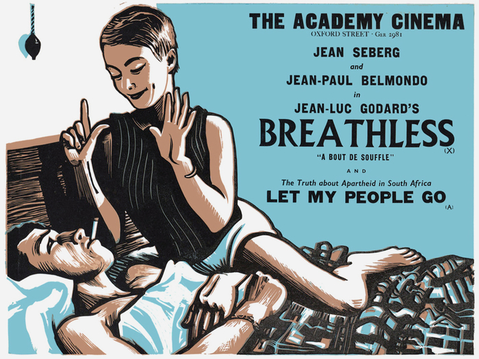 "Breathless (FR 1960) — The title is set in caps from Albertus, with charmingly unbalanced spacing. The bold gothic caps used for ""The Academy Cinema"" and elsewhere in the series exhibit qualities that have been captured in contemporary anthologies/reinterpretations like Rhode, Knockout or Champion Gothic."