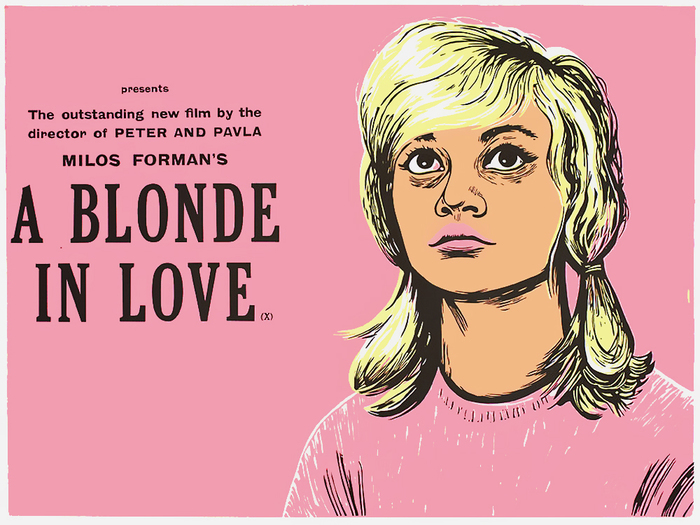 A Blonde in Love (CZ 1965) — The typeface used for the title is similar to a condensed Cheltenham/Gloucester, possibly a woodtype version. For the small sans serif, see Stephenson Blake's Grotesque No. 6 and 8.