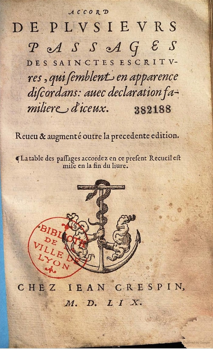 Accord de plusieurs passages des Saintes escritures … — a different book printed by Jean Crespin in 1559, using what looks like the same italic.