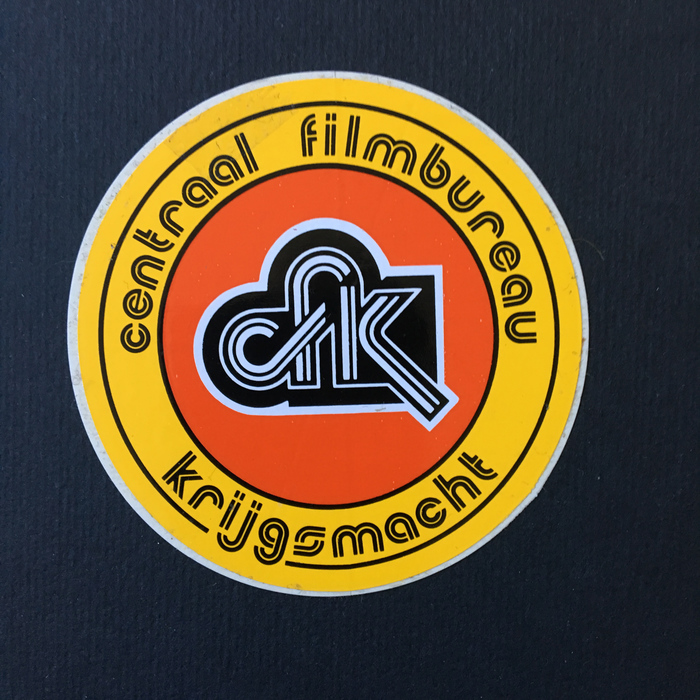 """Centraal Filmbureau Krijgsmacht"" sticker"