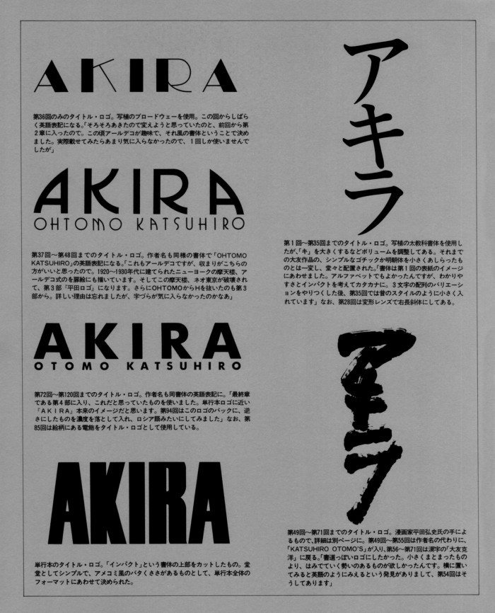 A diagram showing the various typefaces used for the AKIRA logo, included in the Akira Club book.
