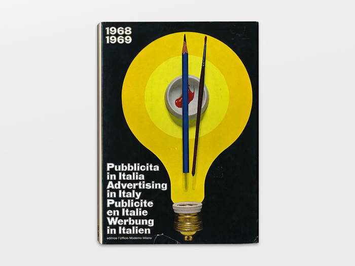 Publisher: L'Ufficio Moderno, Milan, Italy  12×8.5″, 271 plus ads, English-French-German-Italian    Pubblicità in Italia (Advertising in Italy) is an accurate look at Italian graphic design in 1968-69 including: posters, advertising, catalogs, packaging, trade-marks and more. Introduction by Silvio Ceccato. — Display
