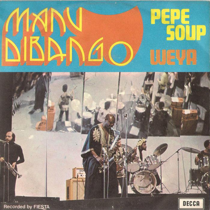 "Manu Dibango – ""Pepe Soup"" / ""Weya"" Italian single cover"