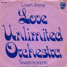 """Love Unlimited Orchestra – """"Love's Theme"""" / """"Sweet Moments"""" Dutch single cover"""