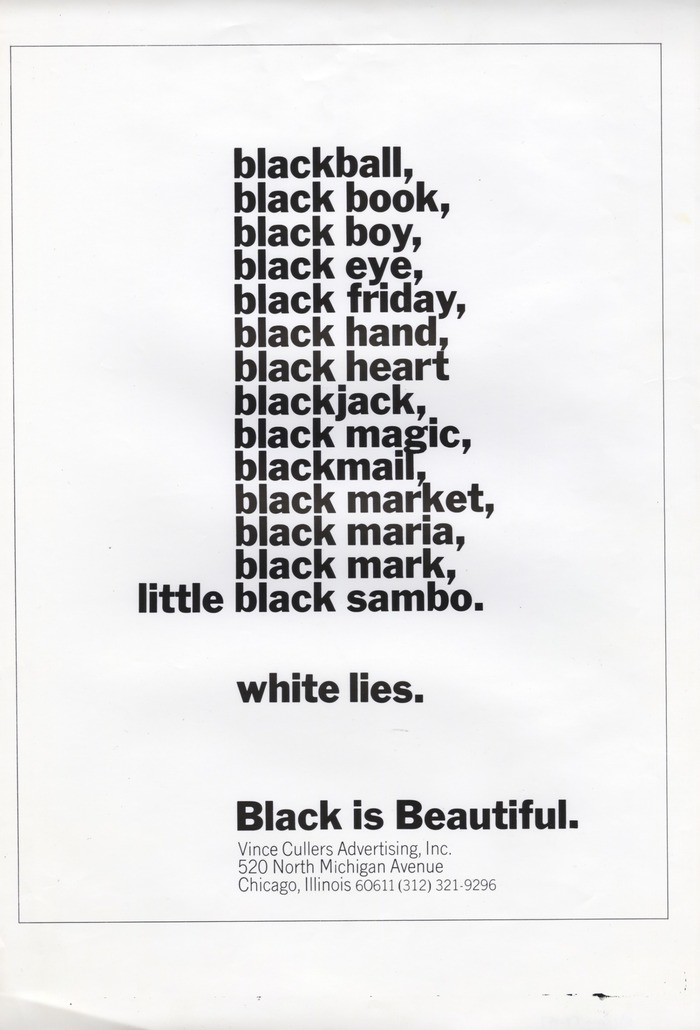 """""""Black is Beautiful."""" ad for Vince Cullers Advertising"""