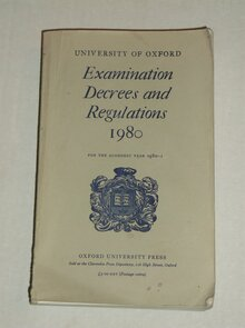 "<cite>Examination Decrees and Regulations</cite> (""Grey Book""), University of Oxford"