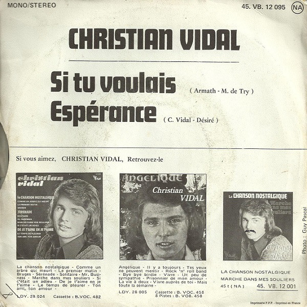 "Christian Vidal – ""Si Tu Voulais"" / ""Espérance"" French single cover 2"