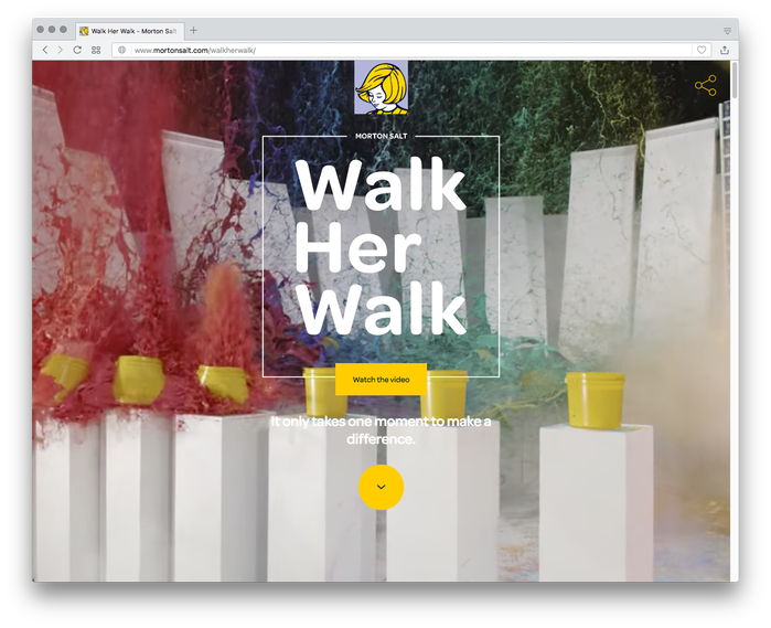 "The landing page on Morton Salt's ""Walk Her Walk"" campaign website seamlessly continues the visual identity with Omnes as typographic basis."