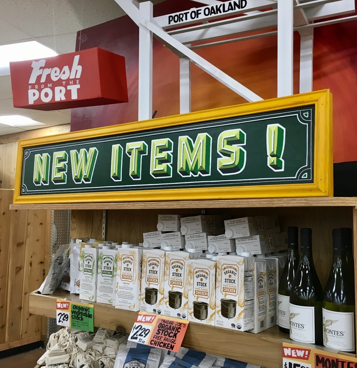 The Trader Joe's in Rockridge, Oakland, CA. All the signs and price cards in this photo are painted or written by hand, but one is not like the others.