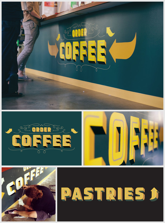 Signs for a Philz Coffee shop on the Facebook campus in Palo Alto, 2013.