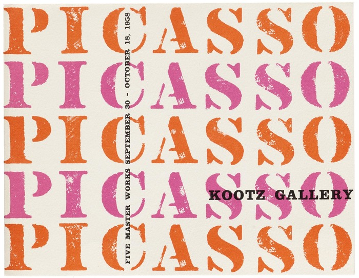 Elaine Lustig Cohen, exhibition catalog for Picasso: Five Master Works, Kootz Gallery, New York, 1958.