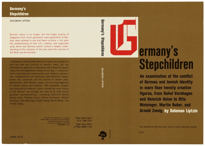 Germany's Stepchildren by Solomon Liptzin, Meridian Books and Jewish Publication Services