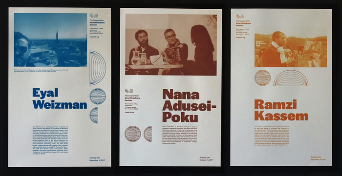 Tabloid posters, using a single color for each speaker. The names are in Halyard Display Black.